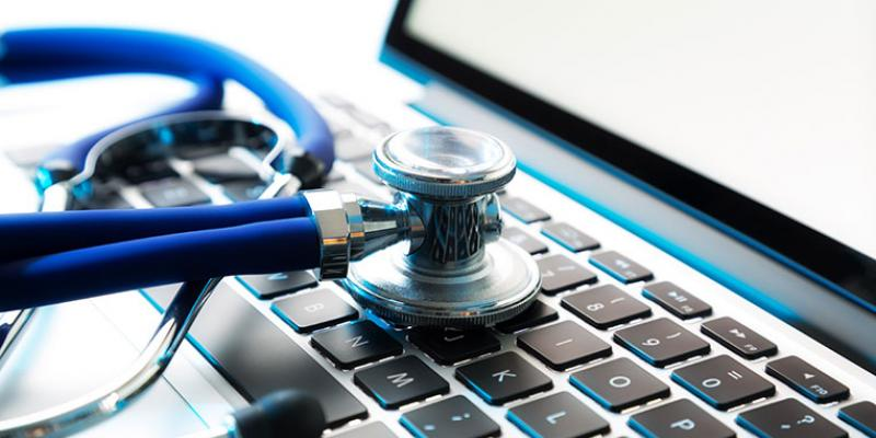 Laptop keys with stethoscope