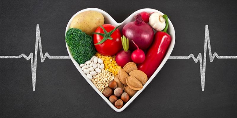 Healthy food in the shape of a heart.