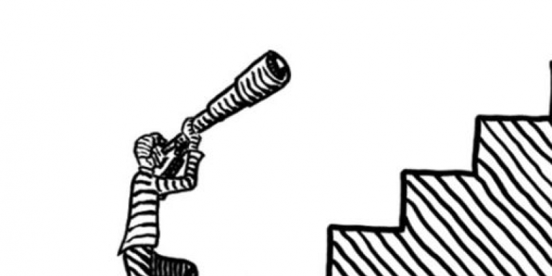 drawing of a person looking through a telescope